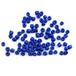Мъниста стъклена 4 мм плътна тъмно синя 1 -50 грама