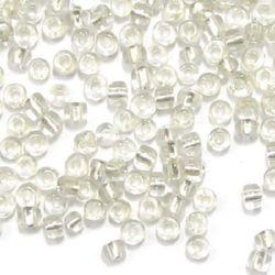 Γυάλινη χάντρα 4 mm διαφανές/ ασημένια βάση -50 γραμμάρια