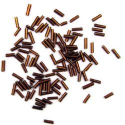 Margele  de sticlă betisoare de culoare  maron cu o grosime de 7 mm  maron -50 de grame