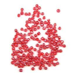 Мъниста стъклена 4 мм прозрачна перлена червена -50 грама