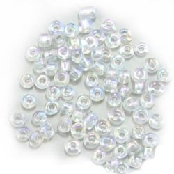 Мъниста стъклена 4 мм прозрачна дъга бяла -50 грама