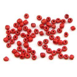 Мъниста стъклена 4 мм плътна тъмно червена -50 грама