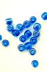Мъниста стъклена 4 мм прозрачна перлена тъмно синя -50 грама