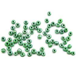 Мъниста стъклена 4 мм плътна перлена тъмно зелена -50 грама