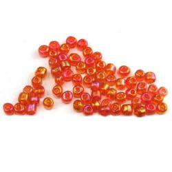 Мъниста стъклена 4 мм прозрачна дъга оранжева -50 грама