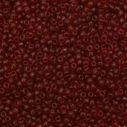 Мъниста стъклена 3 мм прозрачна тъмно червена 1 -50 грама