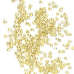 Мъниста стъклена 2 мм прозрачна перлена карамел -50 грама