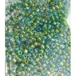 Мъниста стъклена 2 мм прозрачна дъга зелена 2 -50 грама