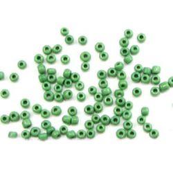 Мъниста стъклена 3 мм плътна тъмно зелена -50 грама