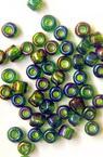 Мъниста стъклена 4 мм прозрачна дъга тъмно зелена -50 грама