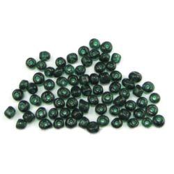 Мъниста стъклена 4 мм прозрачна тъмно зелена -50 грама