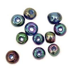 Мъниста стъклена 4 мм ирис синя -50 грама