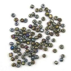 Мъниста стъклена 4 мм ирис графит -50 грама