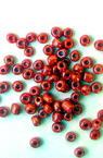 Мъниста стъклена 3 мм плътна перлена червена -50 грама