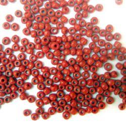 Мъниста стъклена 3 мм плътна тъмно червена -50 грама
