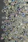 Мъниста стъклена 3 мм прозрачна дъга бяла -50 грама