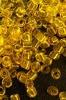 Мъниста стъклена 3 мм прозрачна жълта -50 грама