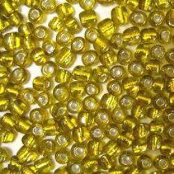 Margele de sticlă 4 mm fir de argint galben -50 grame