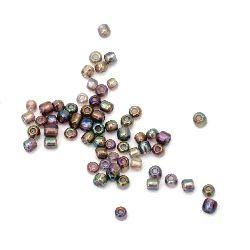 Мъниста стъклена 3 мм ирис лилава -50 грама