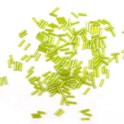 Margele de sticlă forma betisoare de 7 mm verde deschis transparent -50 grame