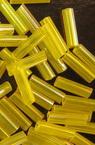 Мъниста стъклена пръчица 7 мм прозрачна дъга жълта -50 грама