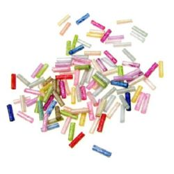 Bugle Glass Seed Beads, 2.5 mm,Mixed colors -50 g