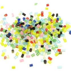 Bugle glass, seed beads 2.5 ~ 3x2 mm mixed colors - 50 grams