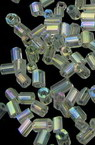 Мъниста стъклена пръчица 2.5x2 мм прозрачна дъга многоъгълна -50 грама