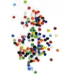 Мъниста стъклена 3 мм плътна цветна -50 грама
