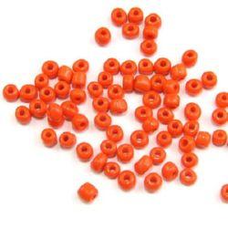 Мъниста стъклена 4 мм плътна тъмно оранжева -50 грама