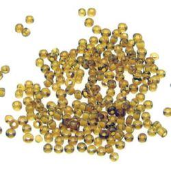 Γυάλινες χάντρες seed 2 mm διαφανές σκούρα καραμέλα -50 γραμμάρια