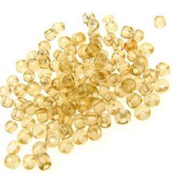 Γυάλινες χάντρες seed 4 mm διαφανές αμύγδαλο -50 γραμμάρια