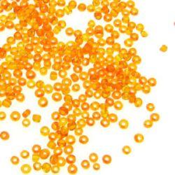 Мъниста стъклена 2 мм прозрачна оранжева -50 грама