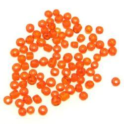 Margele de sticlă 4 mm transparent portocaliu închis -50 grame