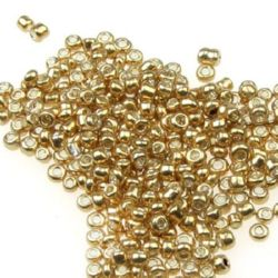 Mărgele de sticlă 2 mm pictat aur 2 -50 grame