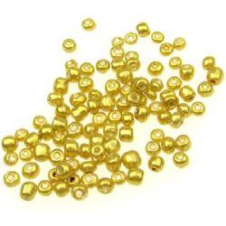 Мъниста стъклена 4 мм боядисана жълто -50 грама