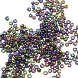 Margele de sticlă 2 mm iris violet -50 grame
