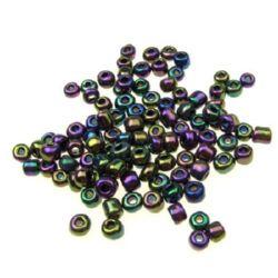 Γυάλινες χάντρες seed 4 mm ίριδας μωβ -50 γραμμάρια