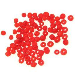 Мъниста стъклена 4 мм матирана червена -50 грама