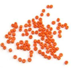 Мъниста стъклена 3 мм матирана плътна оранжева -50 грама