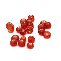 Мъниста стъклена 3 мм сребърна нишка червена -50 грама
