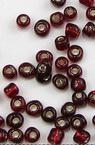 Мъниста стъклена 4 мм сребърна нишка тъмно червена -50 грама