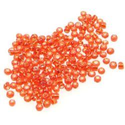 Мъниста стъклена 2 мм сребърна нишка тъмно оранжева -50 грама