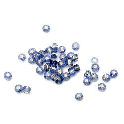 Margele de sticlă 4 mm fir argintiu albastru 3 -50 grame