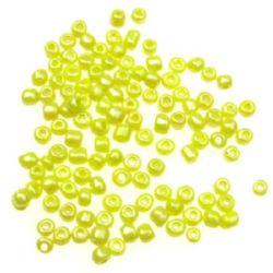 Margele de sticlă de 4 mm grosime galben perlat -50 grame
