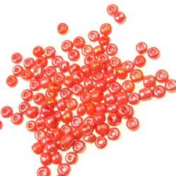 Glass beads  4 mm thick arc dark orange -50 grams