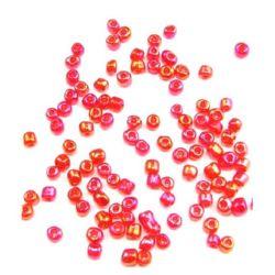 Transparent, margele de sticlă 4 mm arc roșu -50 grame