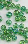 Мъниста стъклена 4 мм прозрачна дъга зелена 2 -50 грама