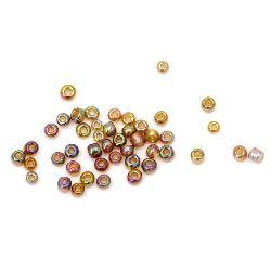 Γυάλινες χάντρες seed 3 mm διαφανές rainbow καφέ -50 γραμμάρια