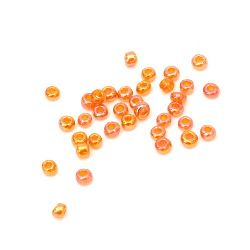 Мъниста стъклена 3 мм прозрачна дъга оранжева-50 грама